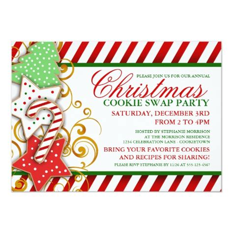 Christmas Cookie Swap Party Invitation Zazzle Cookie Invitations Templates