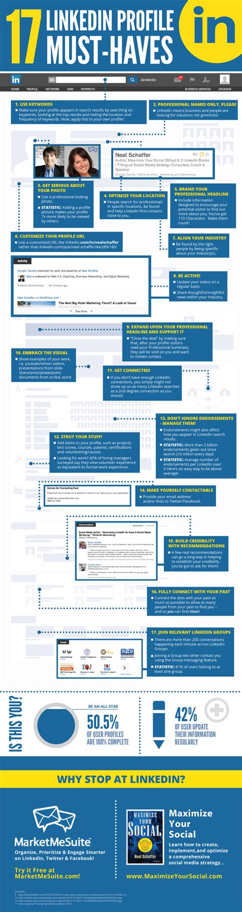 17 linkedin profile must haves infographic