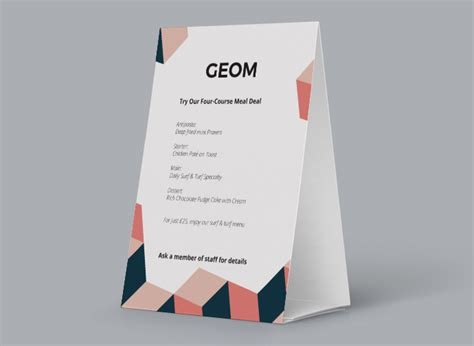 tent card design template tent card designs printing tent cards for restaurants