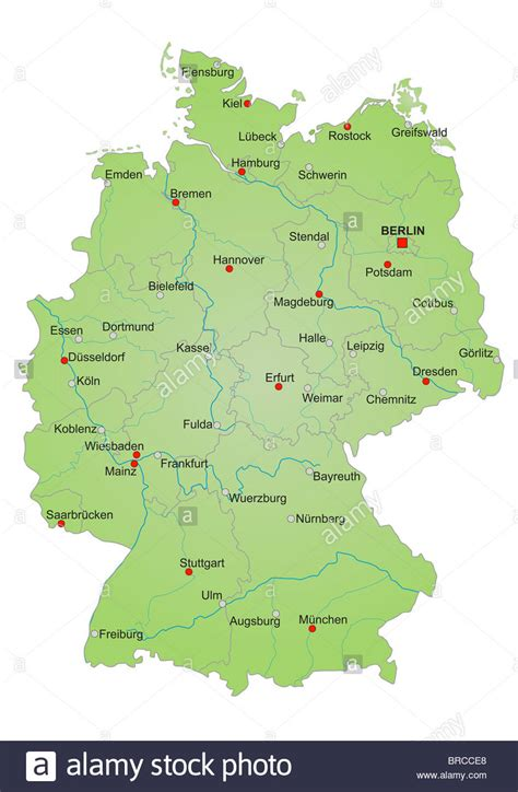 map of germany showing cities stylized map of germany showing states rivers and big