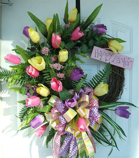 easter wreath beautiful spring floral easter wreath