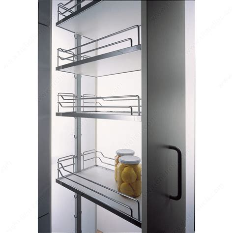 chrome and gray basket sliding system for base cabinets dispensa kit with grey and chrome arena baskets