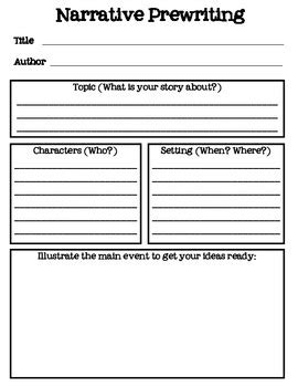 prewriting outline template narrative prewriting story map freebie printable pre