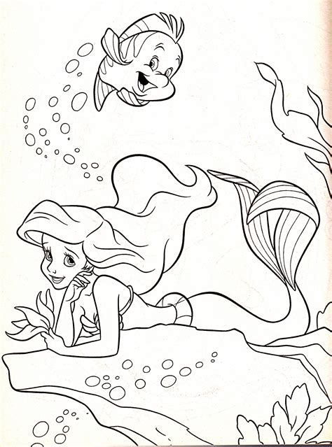 coloring book disney characters walt disney coloring pages flounder princess ariel