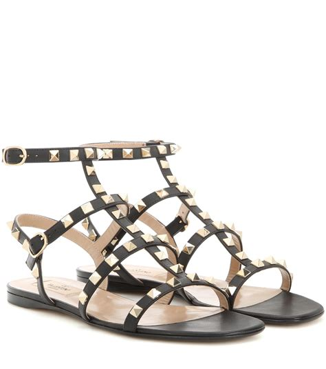 Leather Rockstud Sandals valentino rockstud leather flat sandals in black save 2