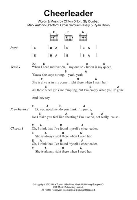 printable lyrics cheerleader cheerleader sheet music by omi lyrics chords 122276
