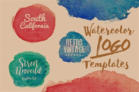 Watercolor Logo Free Templates Pack Age Themes Watercolor Logo Template