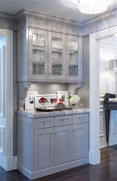 Gray Bar Cabinet Kitchens Gray Glass Front Cabinets Corbels White Carrara Marble Countertops Butler S Pantry