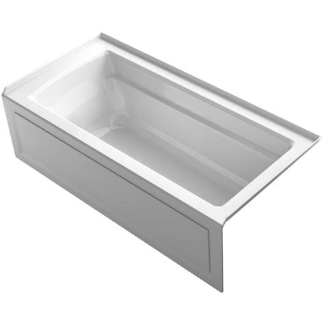 shop kohler archer 66 in white acrylic alcove bathtub with right hand drain at lowes com