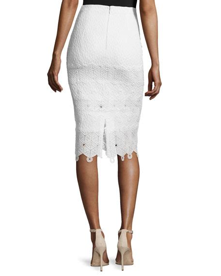 Pencil Skirt Snow by Textured Lace Trim Pencil Skirt Snow