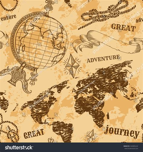 seamless map pattern seamless pattern vintage globe abstract world stock vector