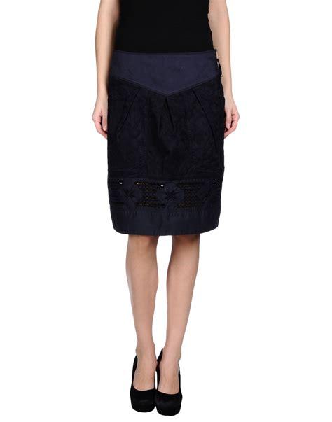 high knee length skirt in blue blue save 62 lyst