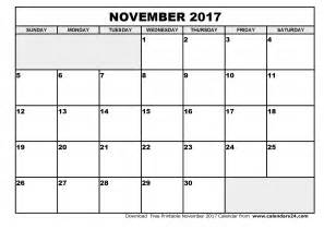 Calendar Nov 2017 November 2017 Calendar Weekly Calendar Template