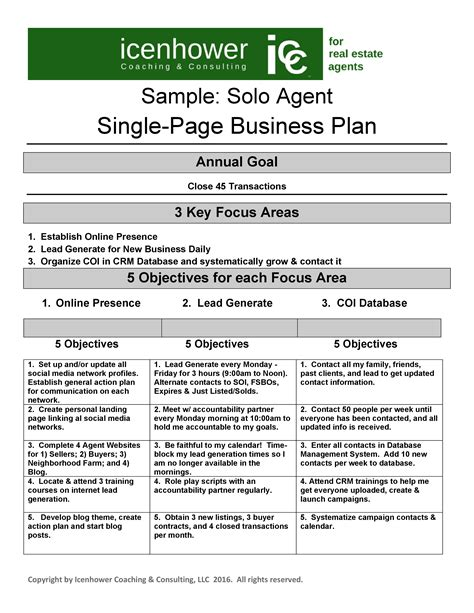 one year business plan template the one page real estate business plan