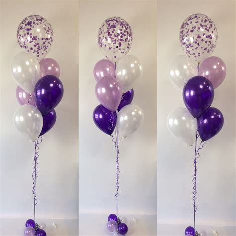 helium balloons with lights inside purples feature pearl white lavender and quartz purple
