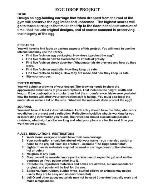 egg drop lab report template egg drop project doc scientific method egg