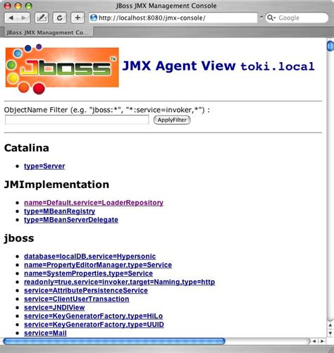 jmx console 3 3 1 inspecting the server the jmx console web application