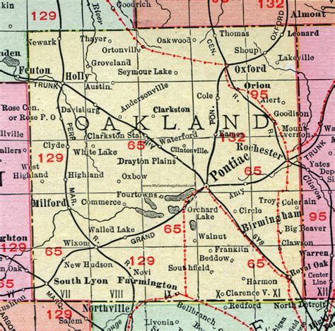 Search Oakland County Oakland County Michigan 1911 Map Rand Mcnally Pontiac Troy Royal Oak