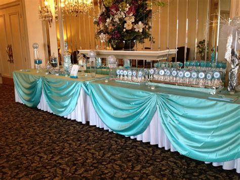 Cookie Place Cards And Candy Buffet For A Tiffany Theme Quinceanera Decorations For Tables