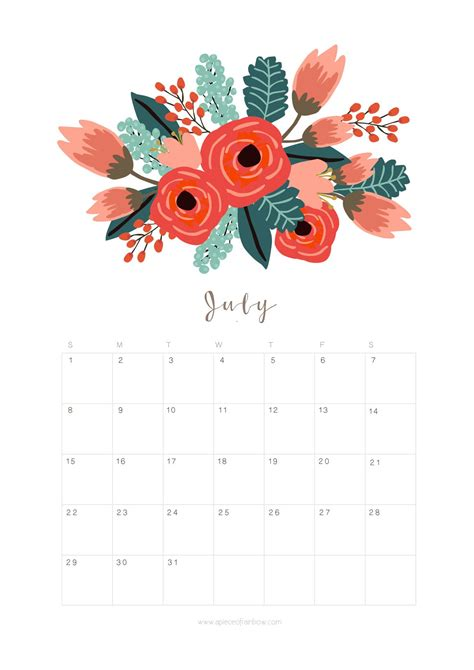 printable july  calendar monthly planner flower