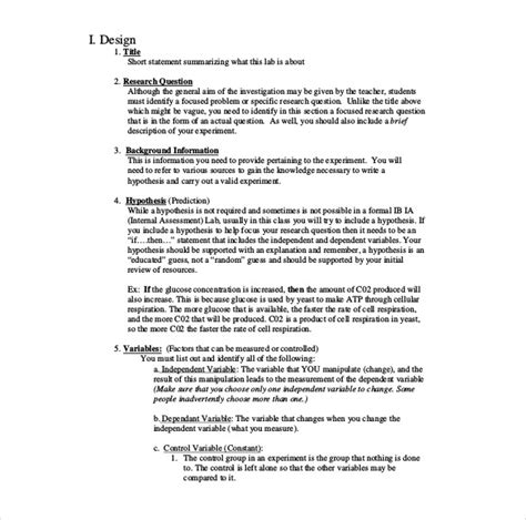 what is a template in biology 26 lab report templates pdf doc free premium templates
