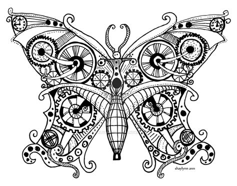 black and white coloring pages of butterflies steunk butterfly by shaylynnann on deviantart