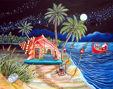 Jimmy Buffett Home Decor by Margaritaville Conch Christmas Painting By Abigail White