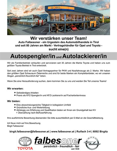 Kfz Lackierer Gesucht by Autospengler In Und Autolackierer In In Birgitz Gesucht