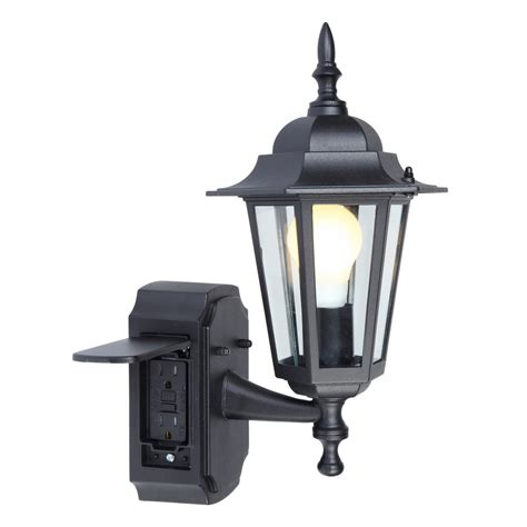 outdoor light fixture with gfci outlet shop portfolio gfci 15 75 in h black outdoor wall light at