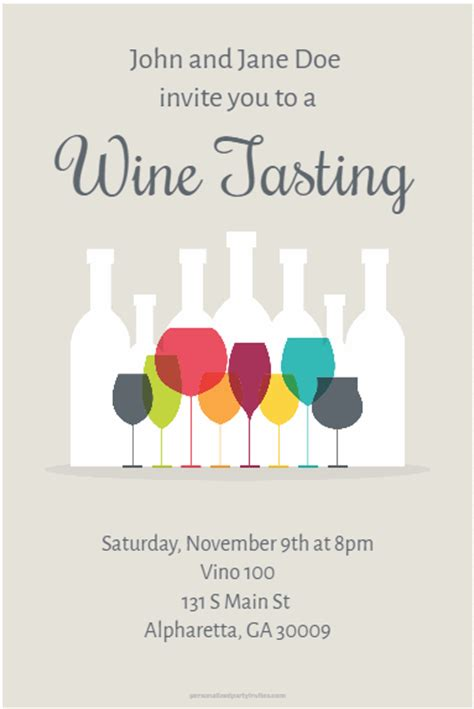 Wine Tasting Party Invitation Personalized Party Invites Wine Bottle Invitation Template