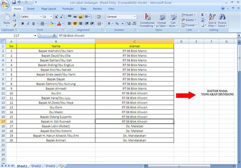 format daftar hadir tamu undangan cara membuat label undangan di kertas koala 103 untuk ms