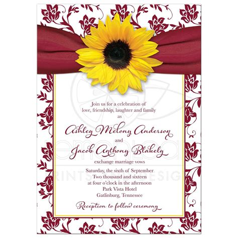 Sunflower Wedding Invitations by Fall Sunflower Wedding Invitation Burgundy Yellow