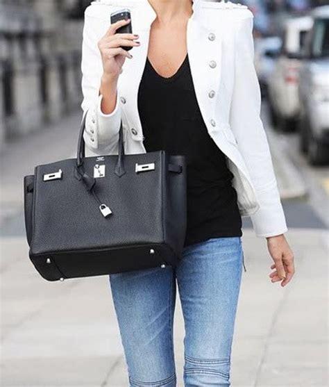 Kalana X White Black Birken wearing black hermes birkin bag designer clothing and accessories hardware bags