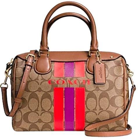 Tas Coach Polgan Brown Stripe Original coach varsity stripe mini satchel signature brown watermelon pvc cross bag tradesy
