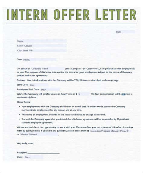 8 Internship Offer Letters Free Sles Exles Format Download Free Premium Templates Paid Internship Contract Template