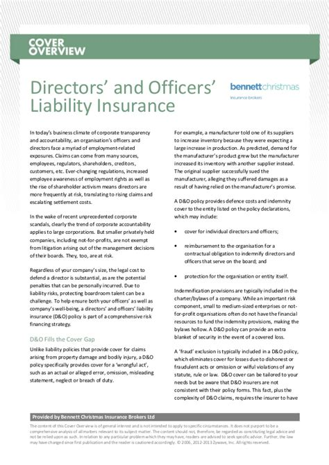 cover overview directors and officers liability insurance