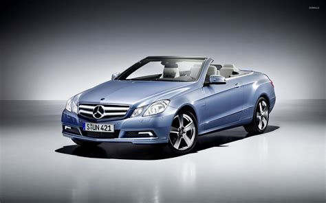 blue mercedes blue mercedes e class convertible front side view