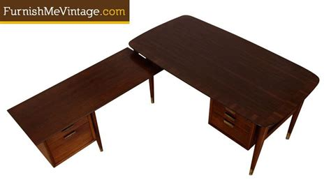 mid century l shaped desk mid century modern l shaped executive desk