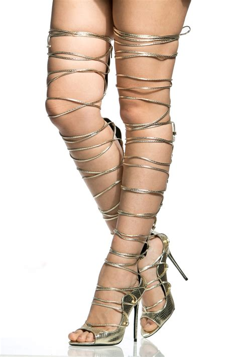 lace up thigh high heels gold faux leather lace up thigh high stiletto heels