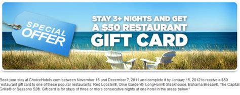 Choice Hotel Gift Card - choice hotels offering 50 restaurant gift card for stays of three days
