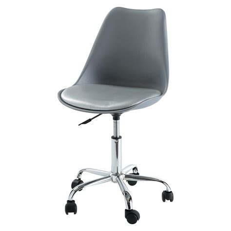 office chair on castors in grey bristol maisons du monde