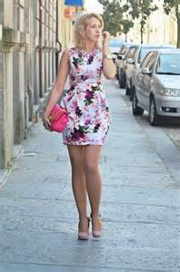 floral dress sheer pantyhose and mauve high heels floral