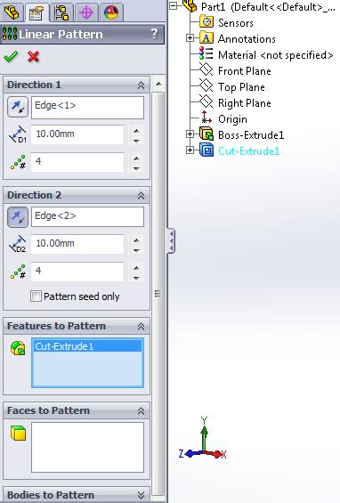 solidworks tutorial linear pattern linear pattern usage solidworks tutorials