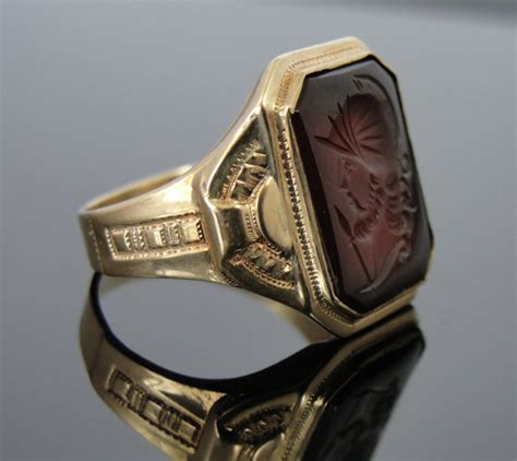 antique 10k gold sardonyx mens ring cameo intaglio