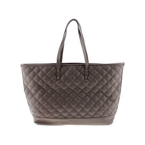 Faux Leather Quilted Tote bcbg 1385 womens quilted faux leather tote handbag