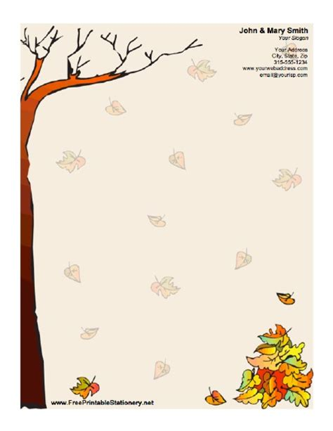 Autumn Stationery Downloadable Stationery Templates