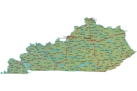 ky map detailed kentucky map ky terrain map