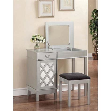 home decor vanity linon home decor 2 piece silver vanity set 58036sil 01 kd