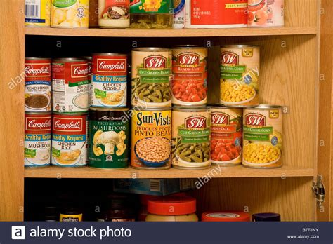 Shelf Of Soup by Wooden Kitchen Cupboard With Shelves Of Canned Soup And Stock Photo Royalty Free Image