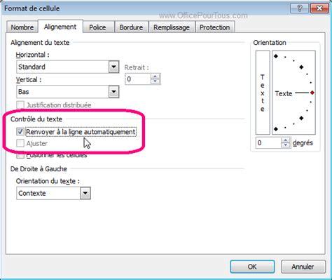 format cellule heure excel 2007 renvoyer le texte automatiquement 224 la ligne dans excel